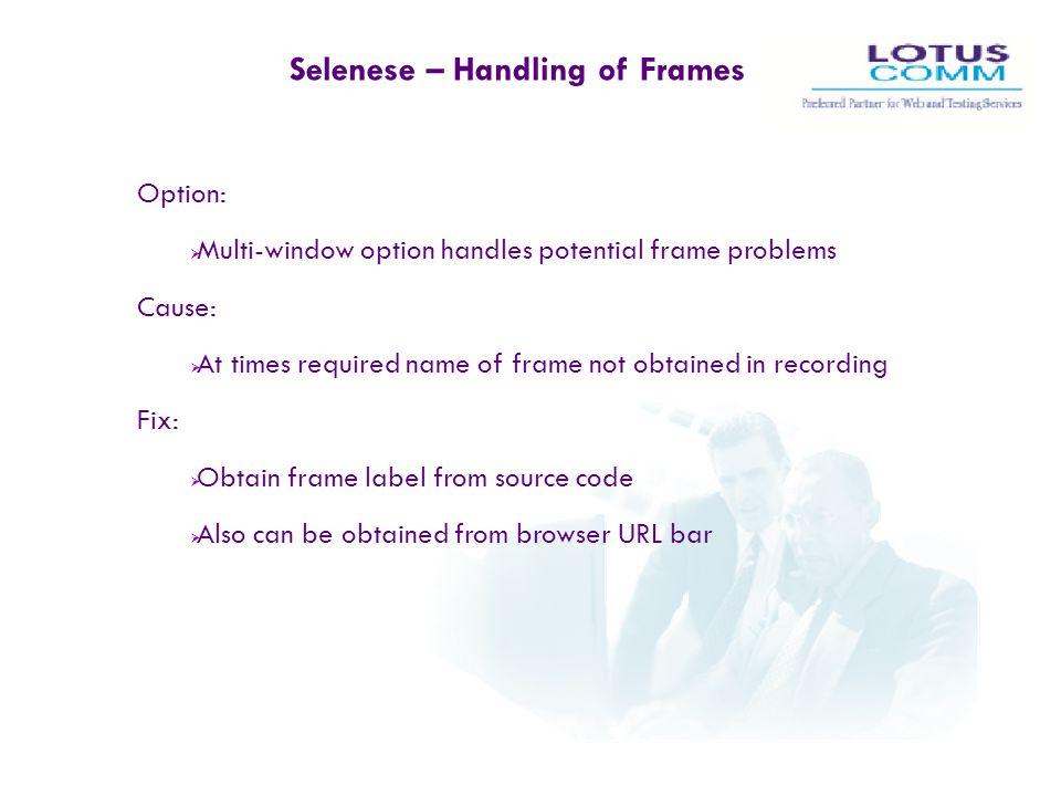 Selenese – Handling of Frames