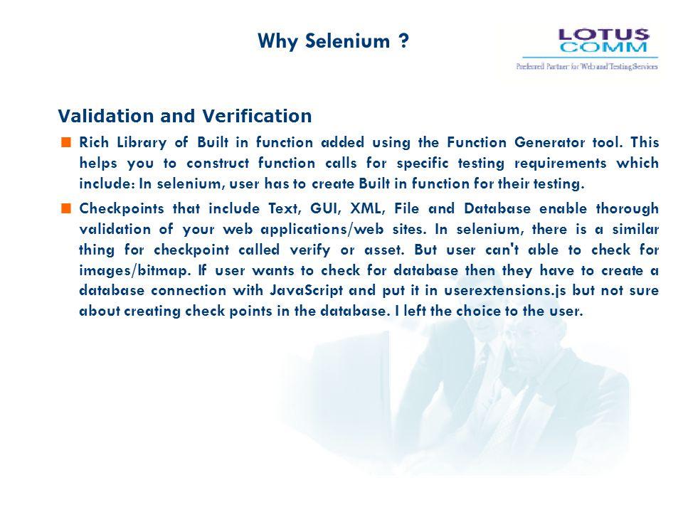 Why Selenium Validation and Verification