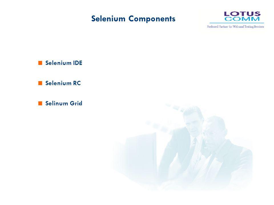 Selenium Components Selenium IDE Selenium RC Selinum Grid