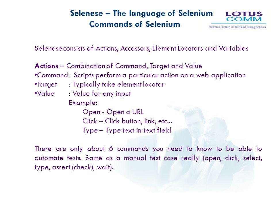 Selenese – The language of Selenium