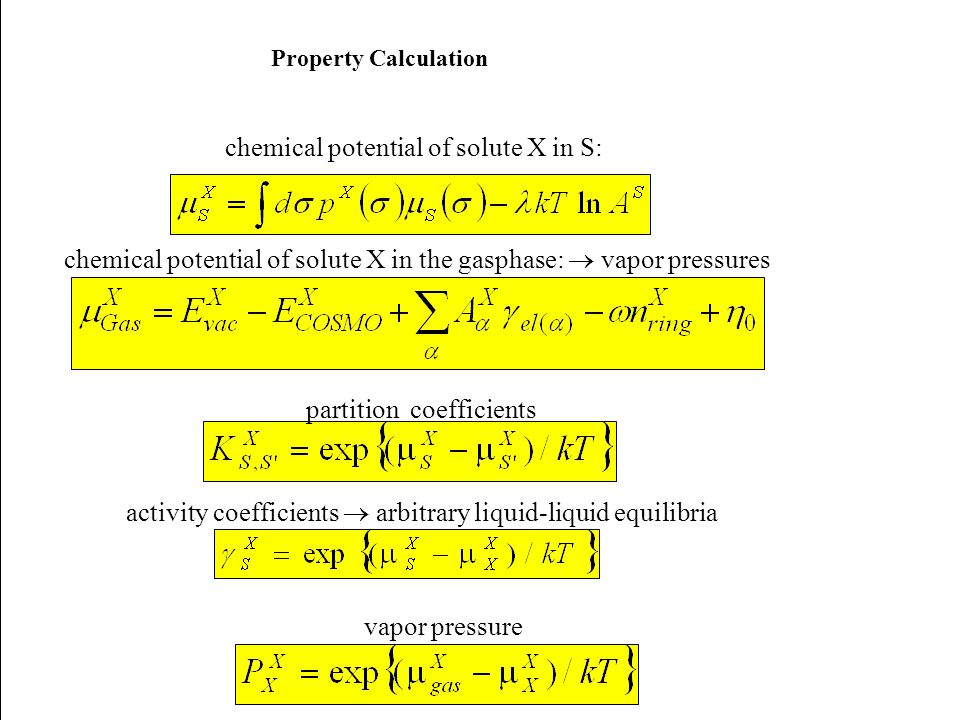 chemical potential of solute X in S: