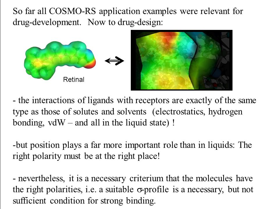 So far all COSMO-RS application examples were relevant for drug-development. Now to drug-design:
