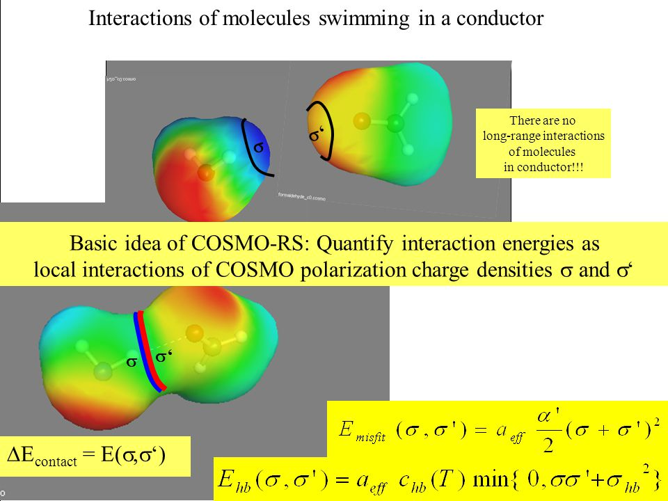 Interactions of molecules swimming in a conductor