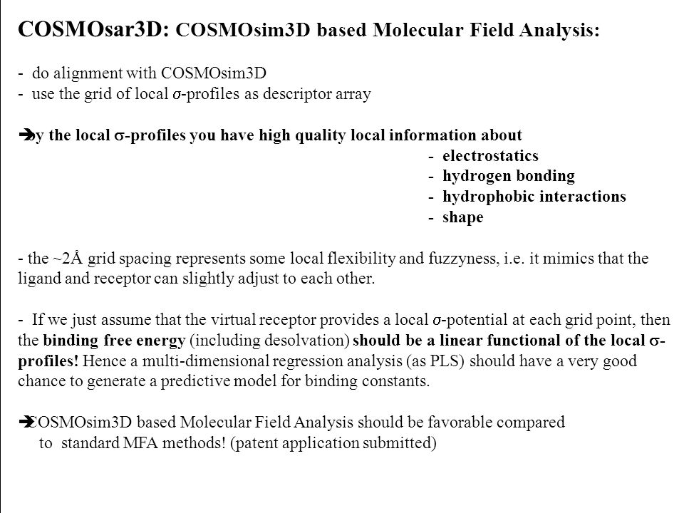 COSMOsar3D: COSMOsim3D based Molecular Field Analysis: