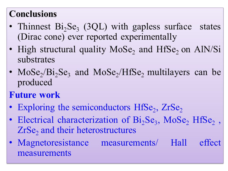 Conclusions Thinnest Bi2Se3 (3QL) with gapless surface states (Dirac cone) ever reported experimentally.