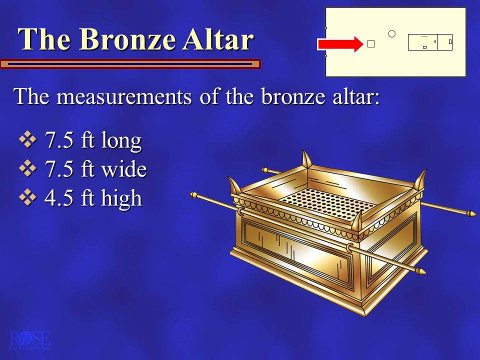 The Bronze Altar The measurements of the bronze altar: 7.5 ft long