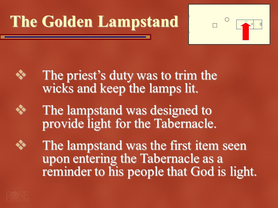 The Golden Lampstand The priest's duty was to trim the wicks and keep the lamps lit.
