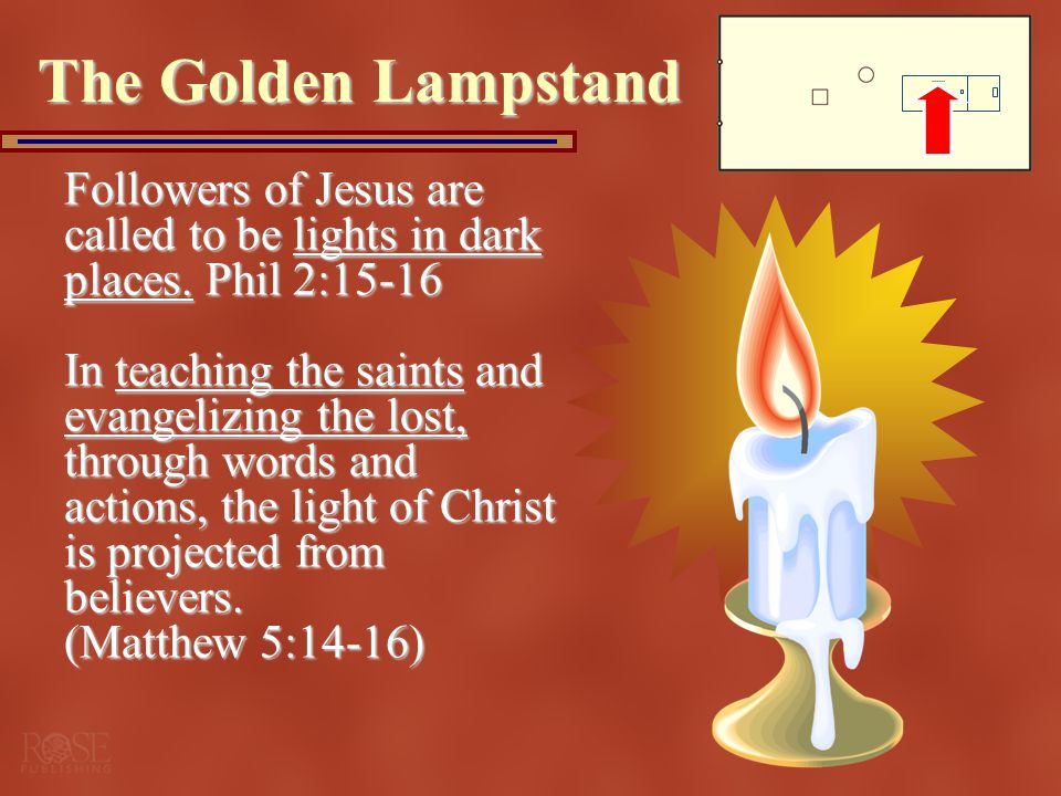 The Golden Lampstand Followers of Jesus are called to be lights in dark places. Phil 2:15-16.