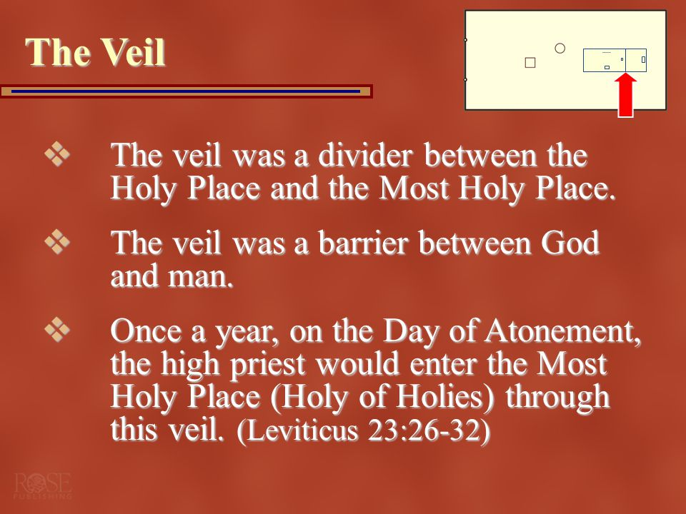 The Veil The veil was a divider between the Holy Place and the Most Holy Place. The veil was a barrier between God and man.