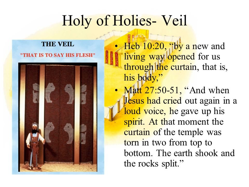 Holy of Holies- Veil Heb 10:20, by a new and living way opened for us through the curtain, that is, his body,