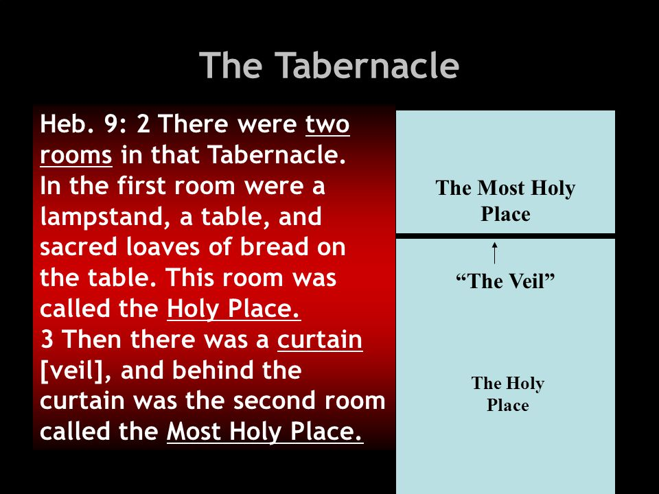 The Tabernacle Heb. 9: 2 There were two rooms in that Tabernacle.
