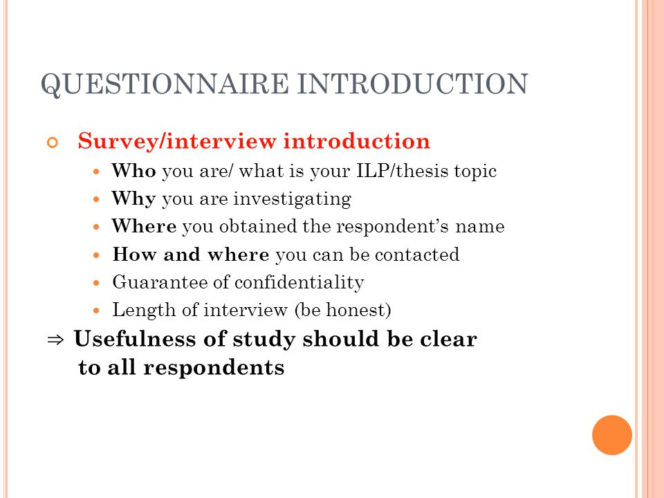 QUESTIONNAIRE INTRODUCTION