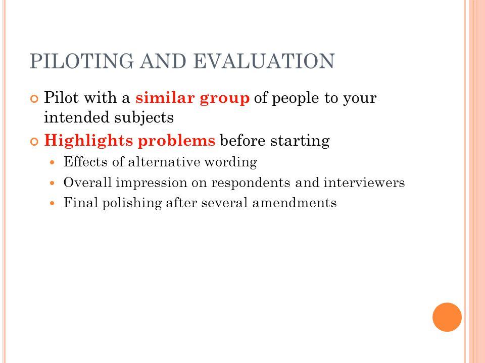 PILOTING AND EVALUATION