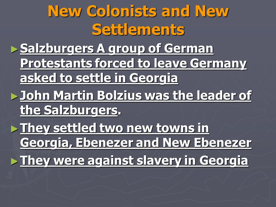 New Colonists and New Settlements