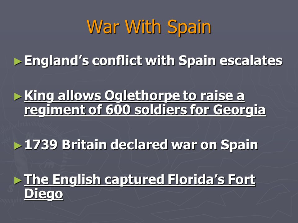 War With Spain England's conflict with Spain escalates
