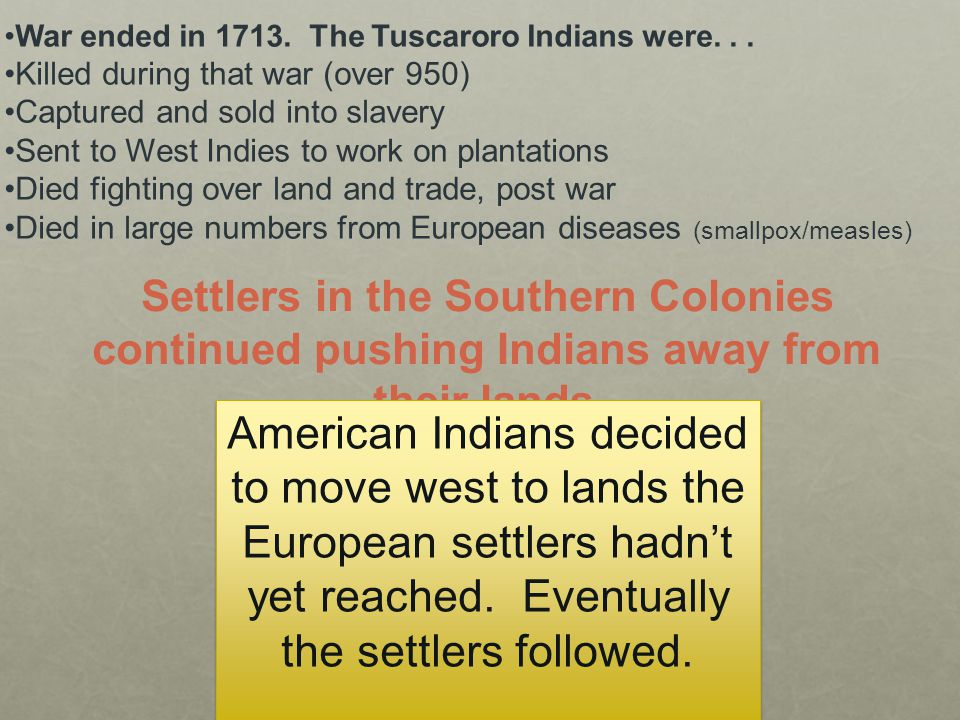 War ended in 1713. The Tuscaroro Indians were. . .