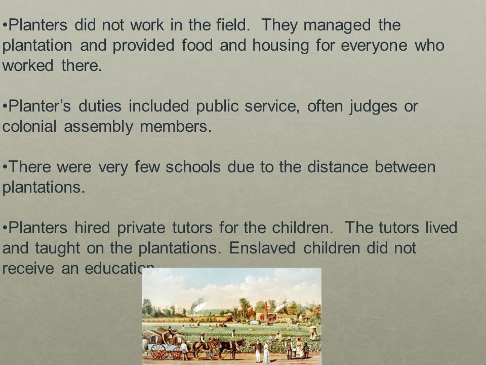 There were very few schools due to the distance between plantations.