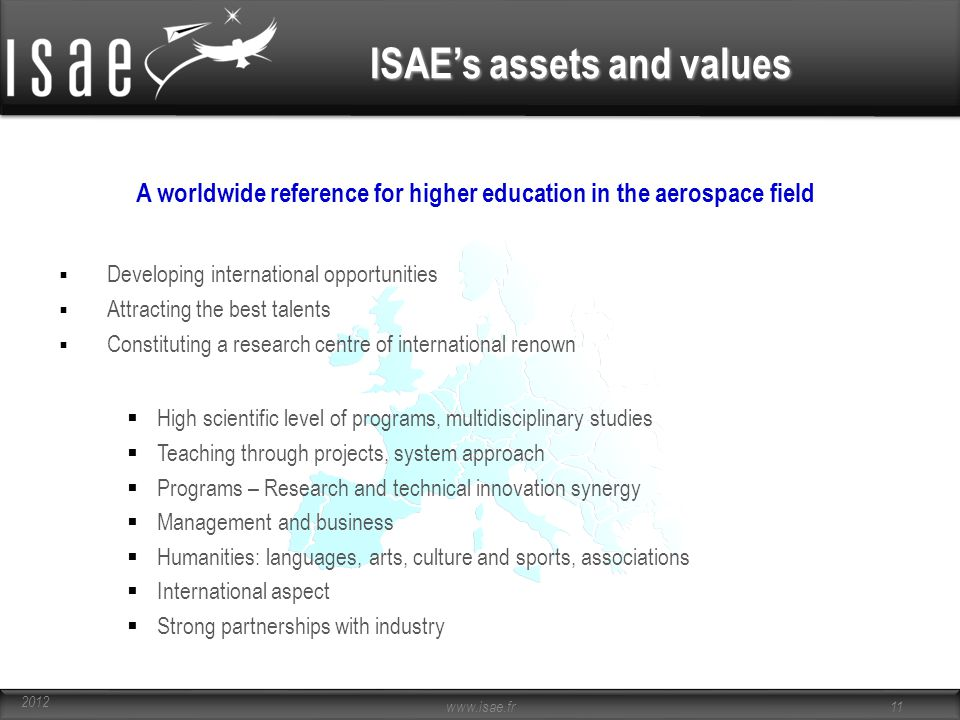 ISAE's assets and values