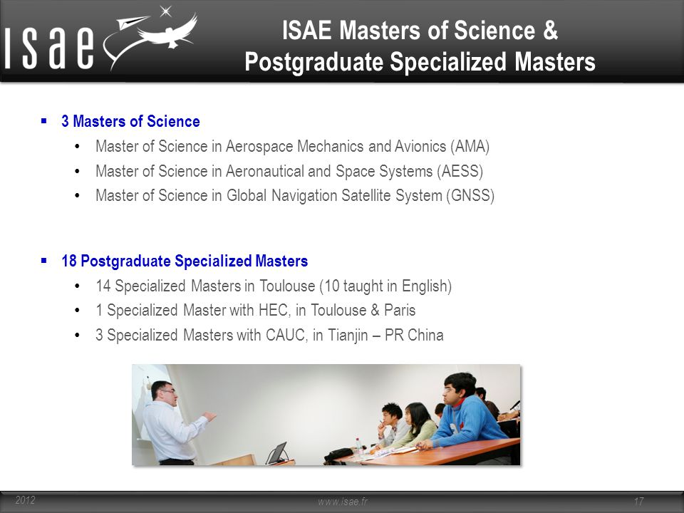 ISAE Masters of Science & Postgraduate Specialized Masters