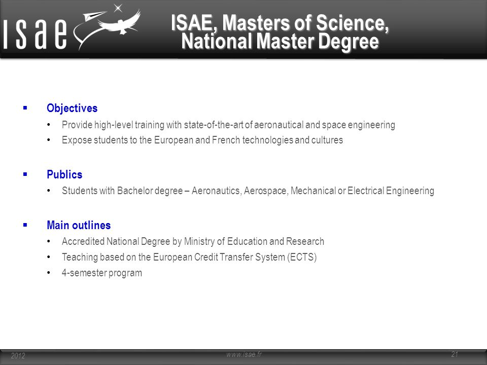 ISAE, Masters of Science, National Master Degree