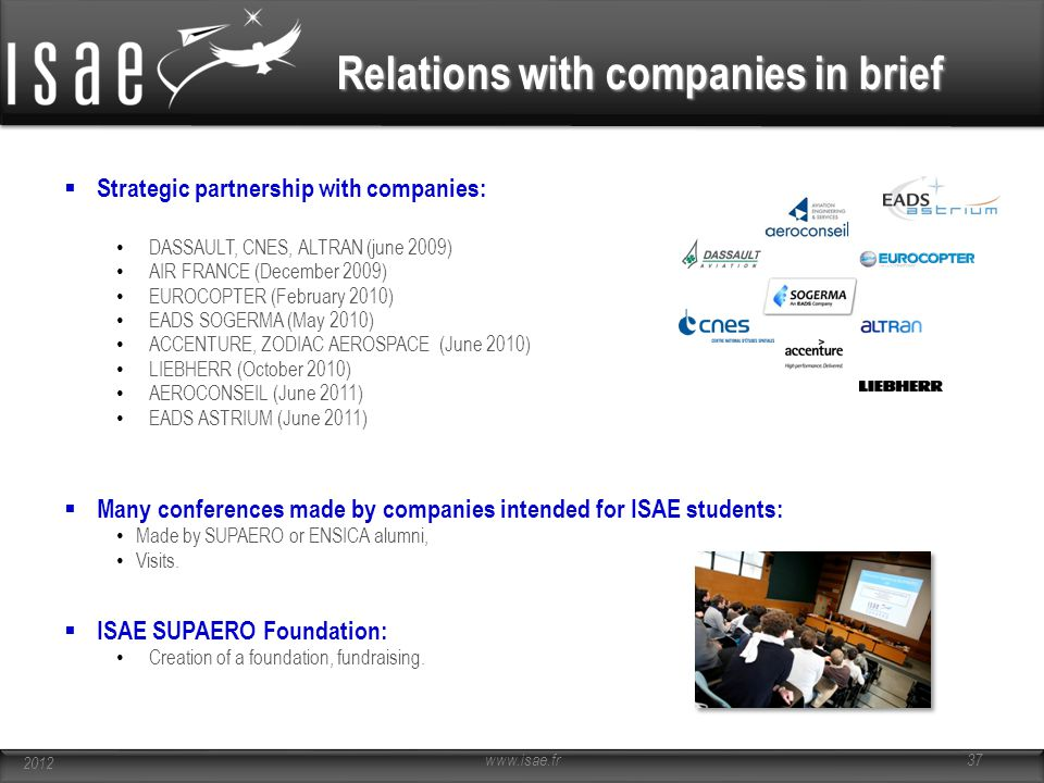 Relations with companies in brief