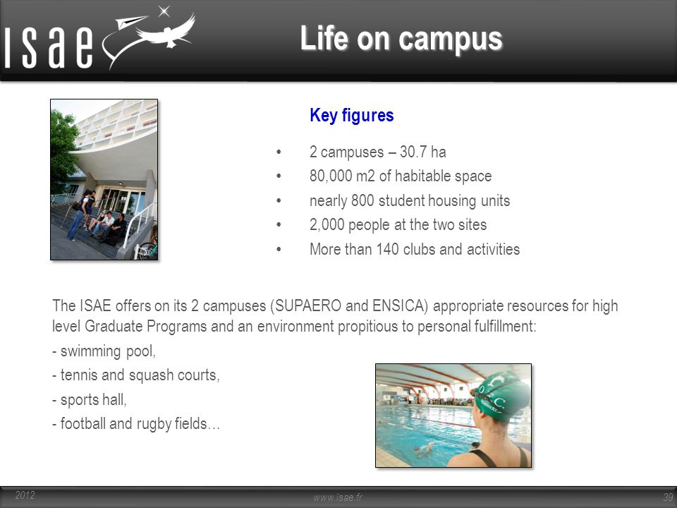 Life on campus Key figures 2 campuses – 30.7 ha