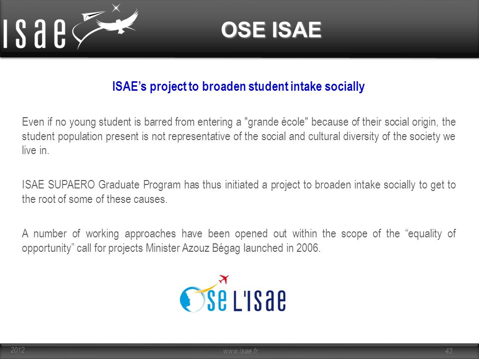 ISAE's project to broaden student intake socially