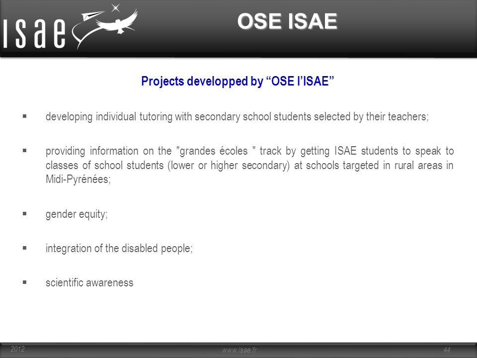 Projects developped by OSE l'ISAE