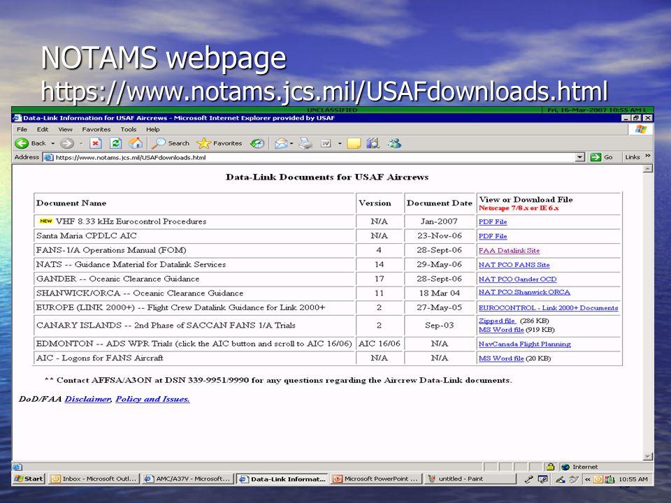 NOTAMS webpage https://www.notams.jcs.mil/USAFdownloads.html