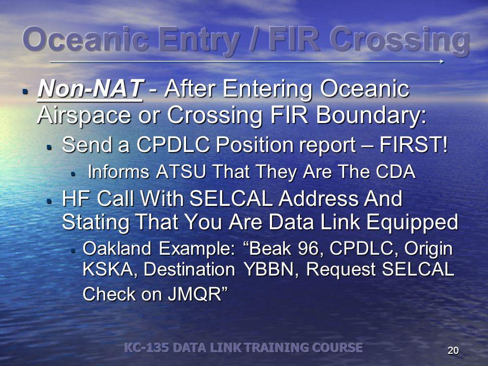 Oceanic Entry / FIR Crossing