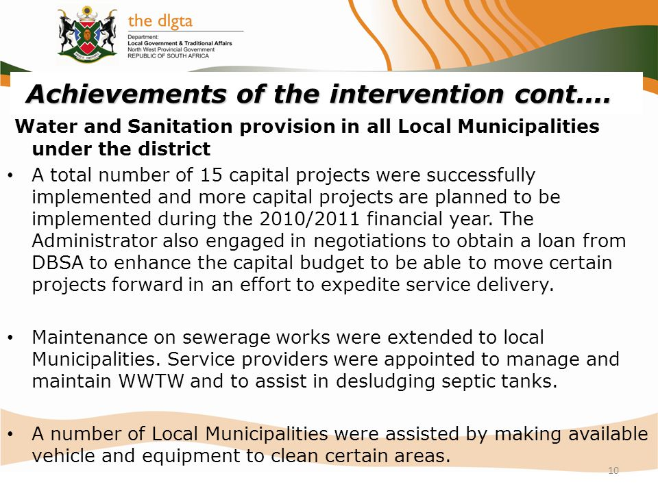 Achievements of the intervention cont....