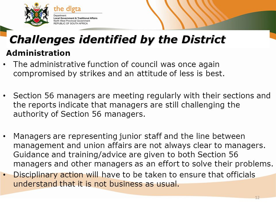 Challenges identified by the District