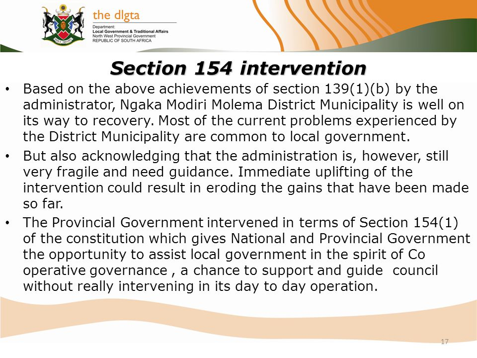 Section 154 intervention