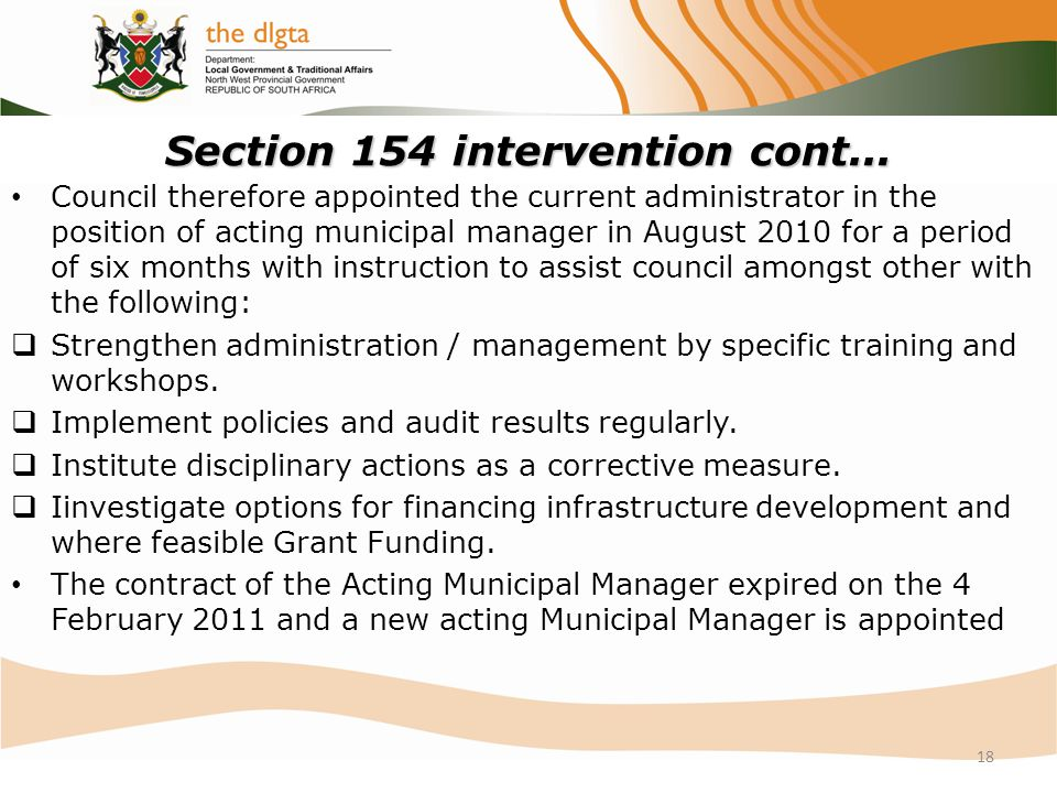 Section 154 intervention cont...