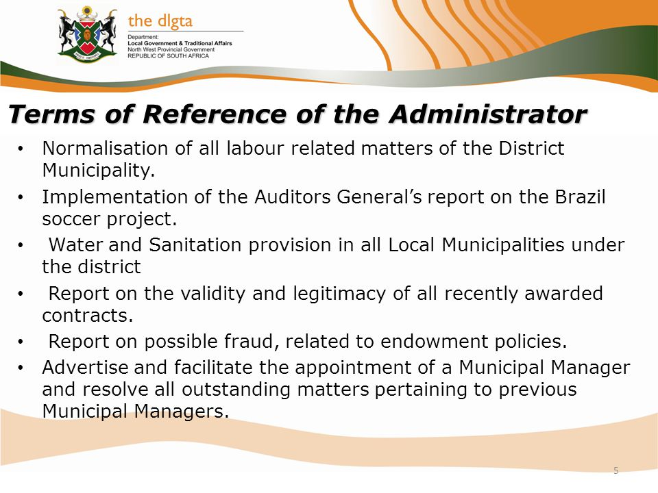 Terms of Reference of the Administrator