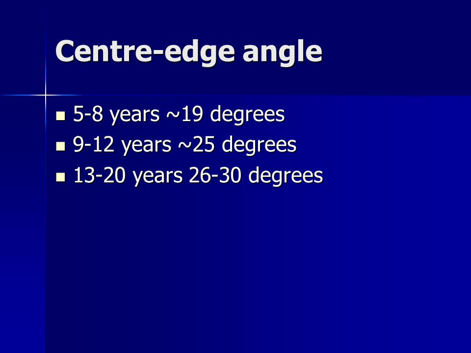 Centre-edge angle 5-8 years ~19 degrees 9-12 years ~25 degrees