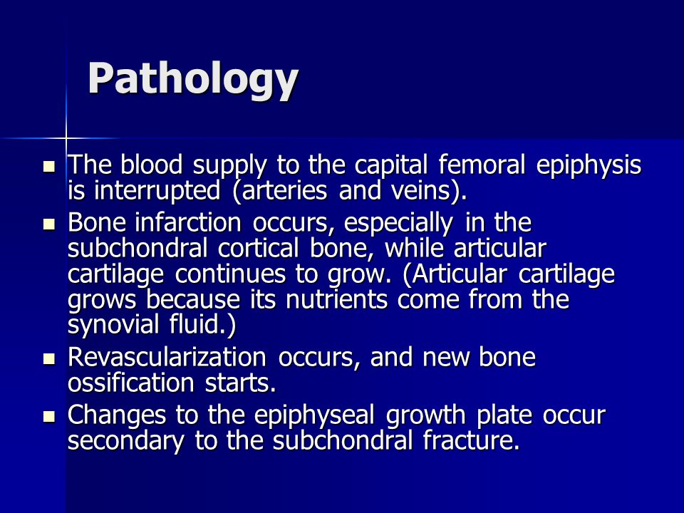 Pathology The blood supply to the capital femoral epiphysis is interrupted (arteries and veins).