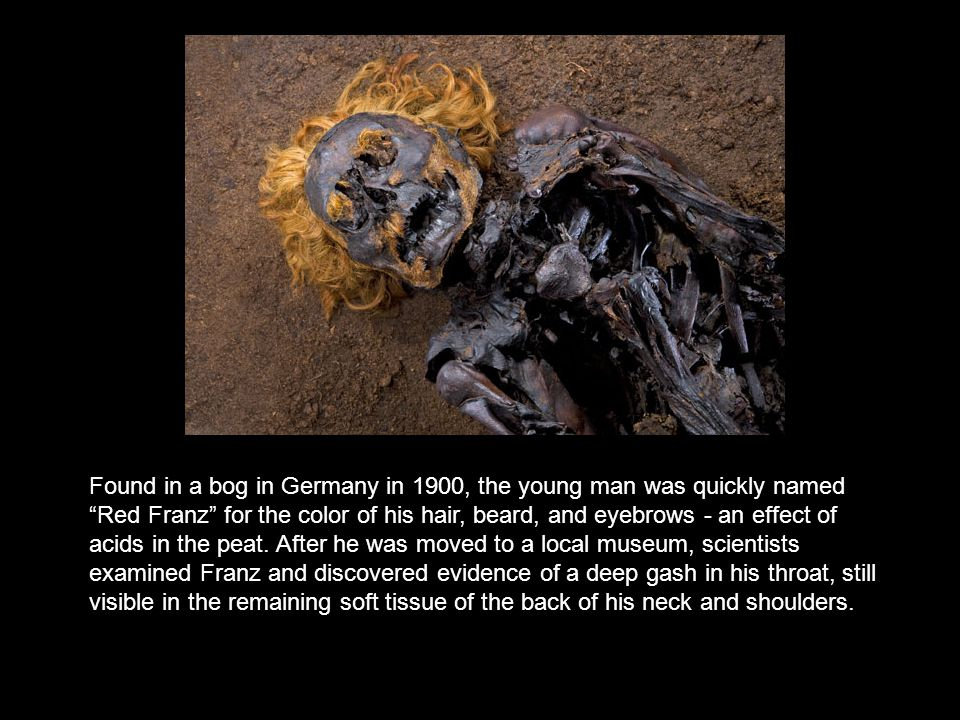 Found in a bog in Germany in 1900, the young man was quickly named Red Franz for the color of his hair, beard, and eyebrows - an effect of acids in the peat.