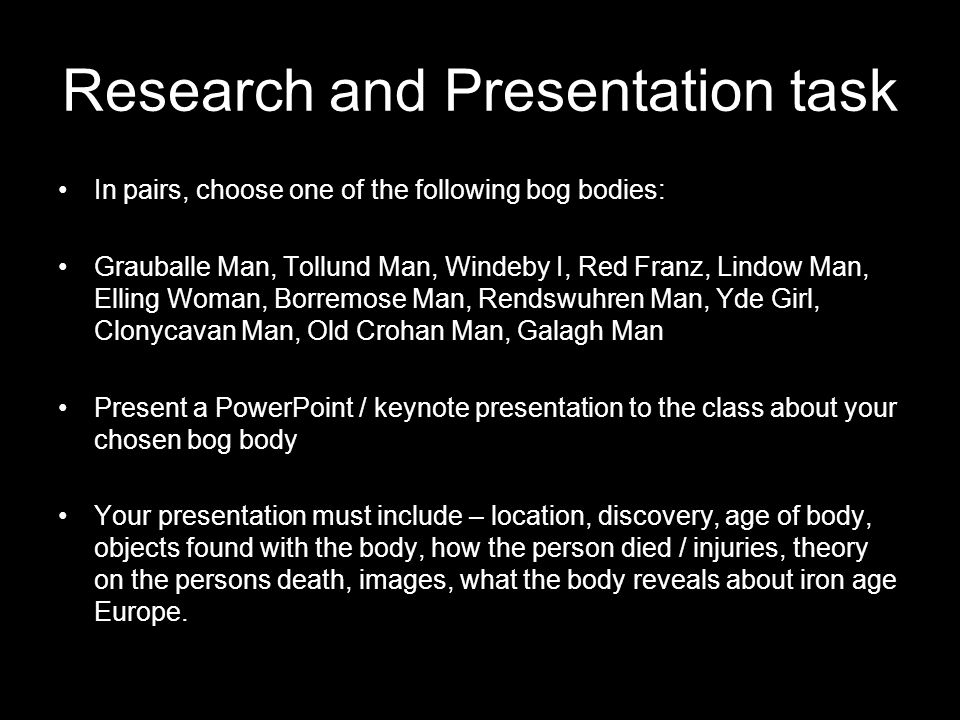 Research and Presentation task