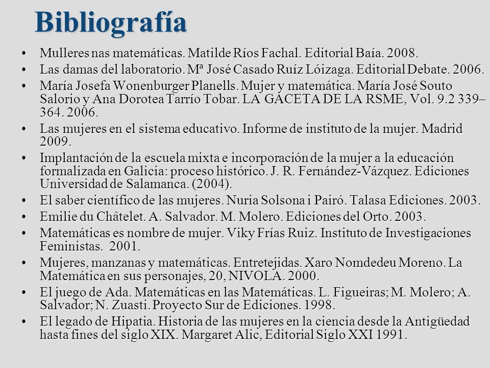 Bibliografía Mulleres nas matemáticas. Matilde Ríos Fachal. Editorial Baía. 2008.