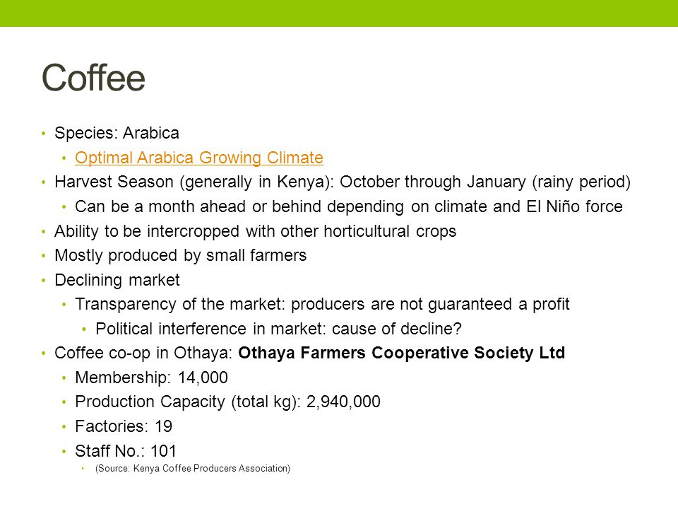 Coffee Species: Arabica Optimal Arabica Growing Climate