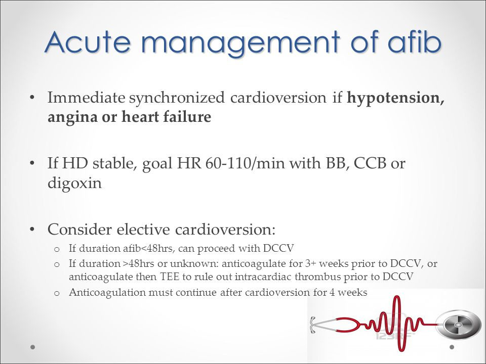 Acute management of afib