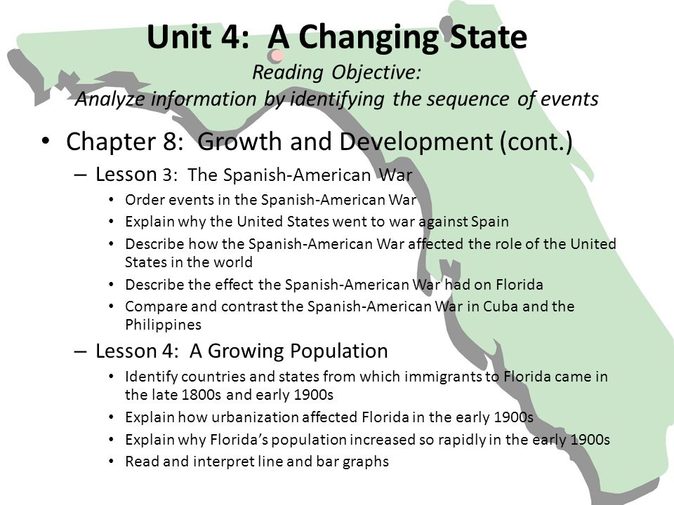 Unit 4: A Changing State Reading Objective: Analyze information by identifying the sequence of events