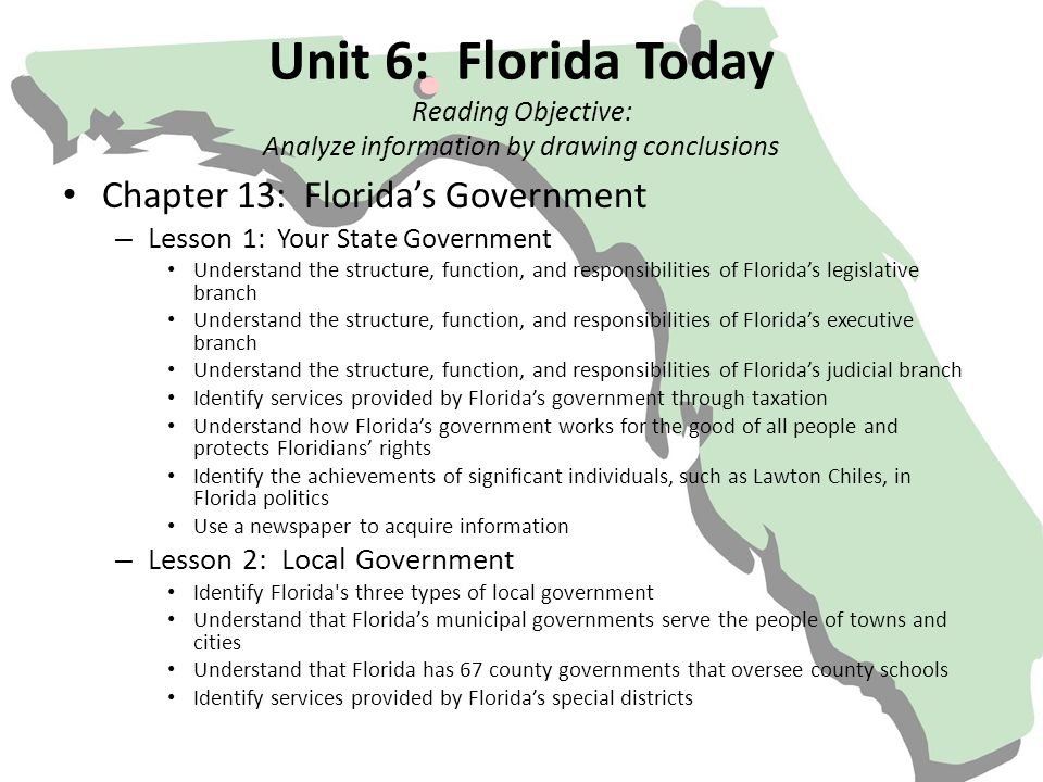 Unit 6: Florida Today Reading Objective: Analyze information by drawing conclusions