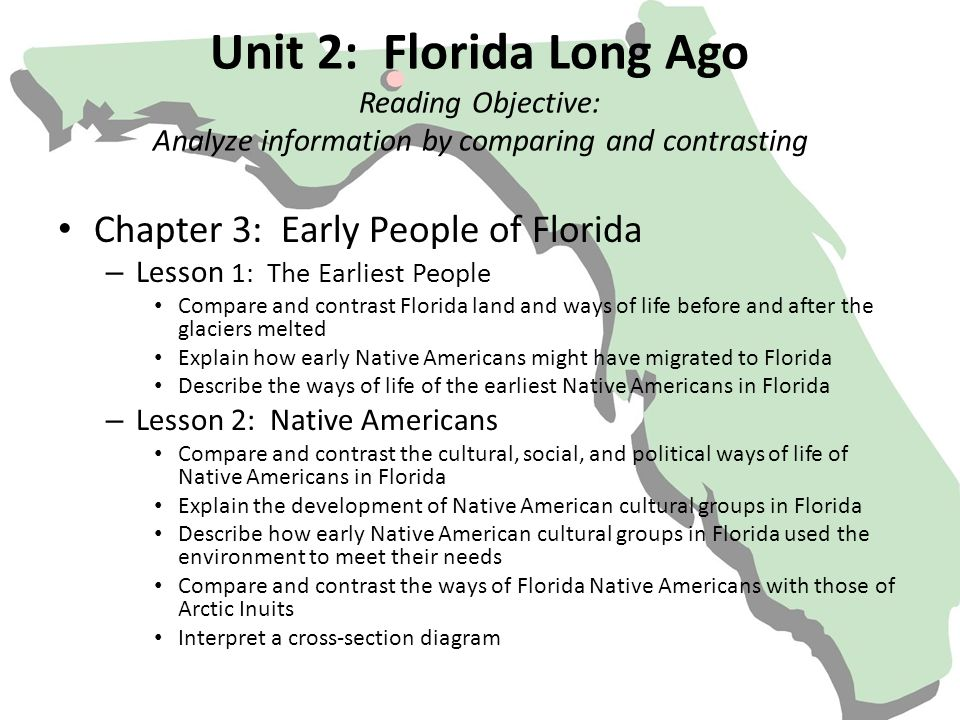 Unit 2: Florida Long Ago Reading Objective: Analyze information by comparing and contrasting