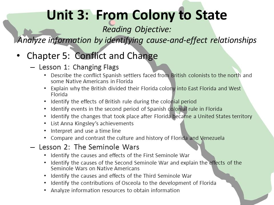 Unit 3: From Colony to State Reading Objective: Analyze information by identifying cause-and-effect relationships