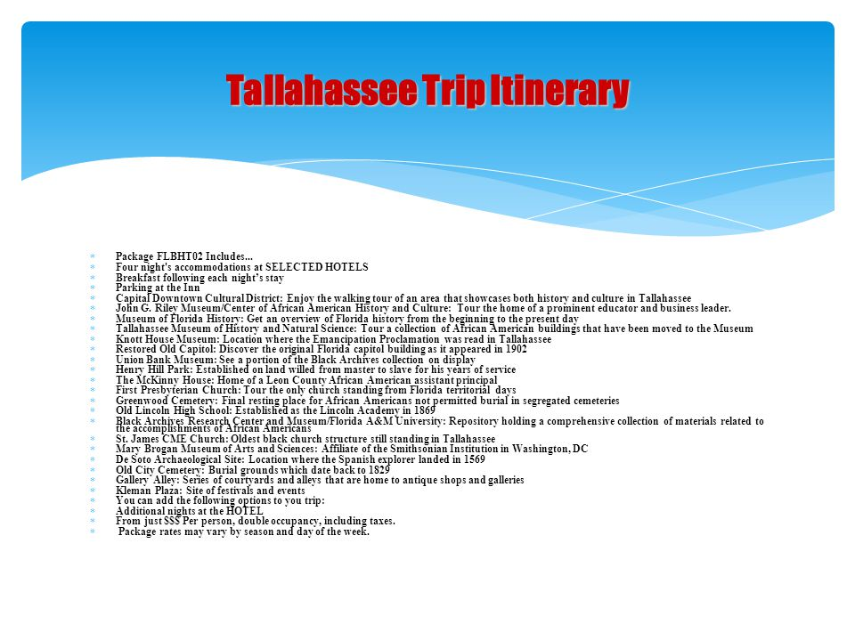 Tallahassee Trip Itinerary