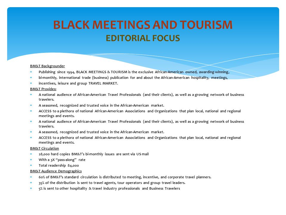 BLACK MEETINGS AND TOURISM EDITORIAL FOCUS