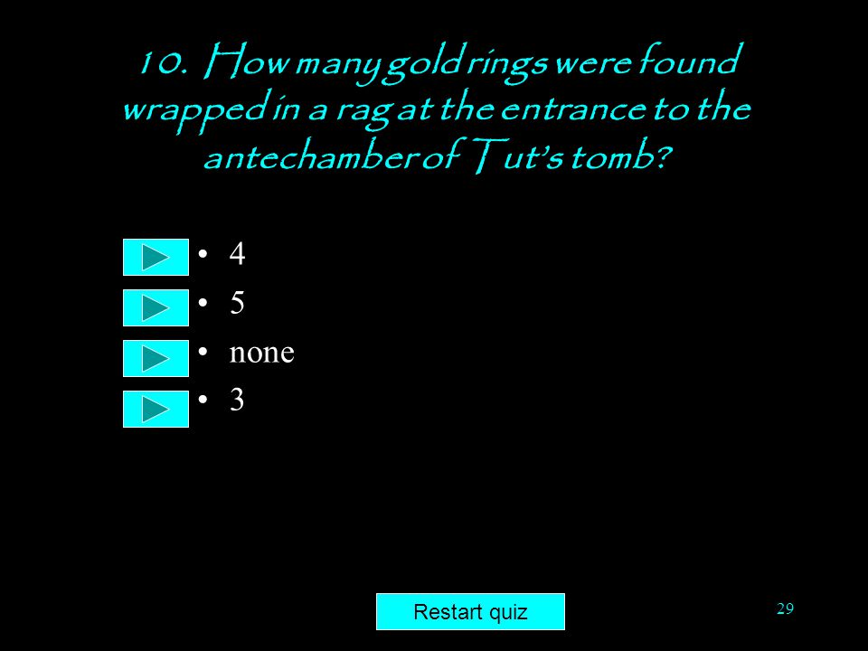 10. How many gold rings were found wrapped in a rag at the entrance to the antechamber of Tut's tomb