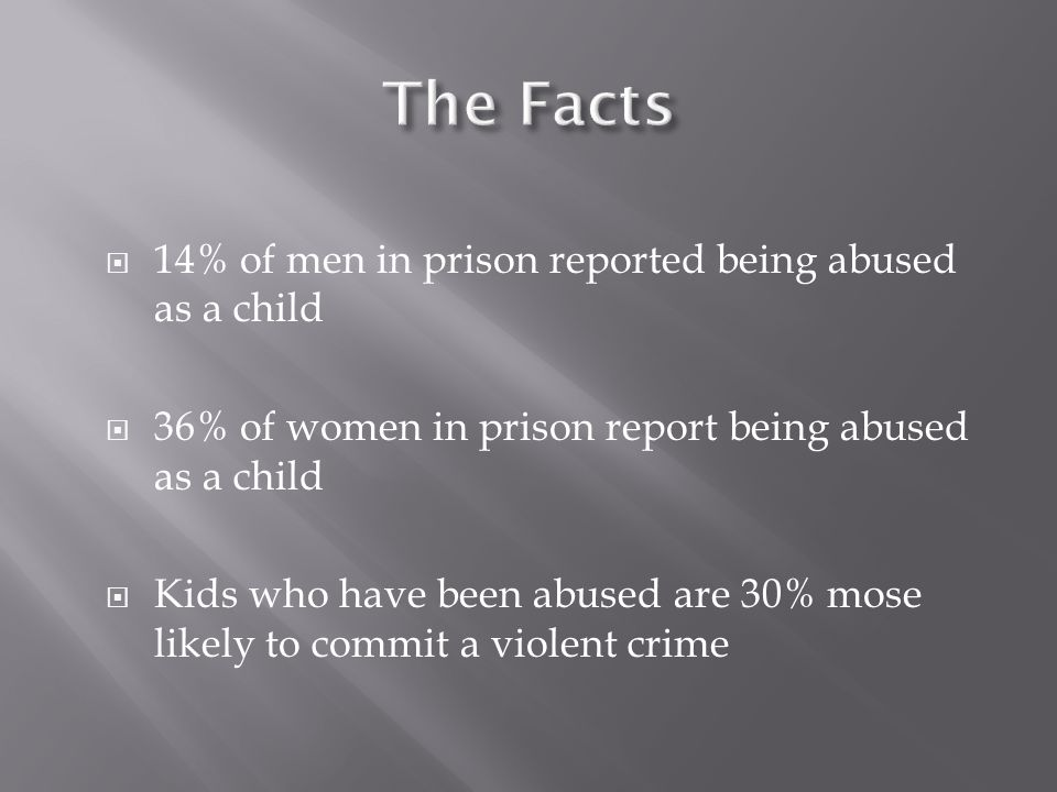 The Facts 14% of men in prison reported being abused as a child